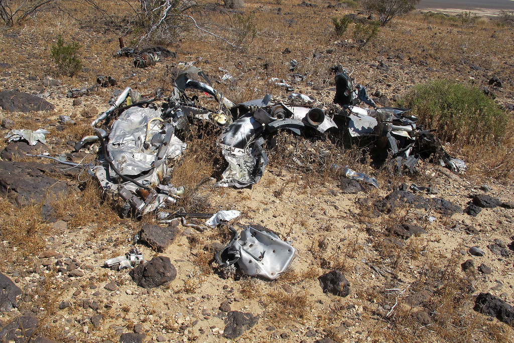 What I spotted was this wreckage that looks like it is from one of the engines and it's nacelle. This must be the place the left wing came down after it separated from the airplane.