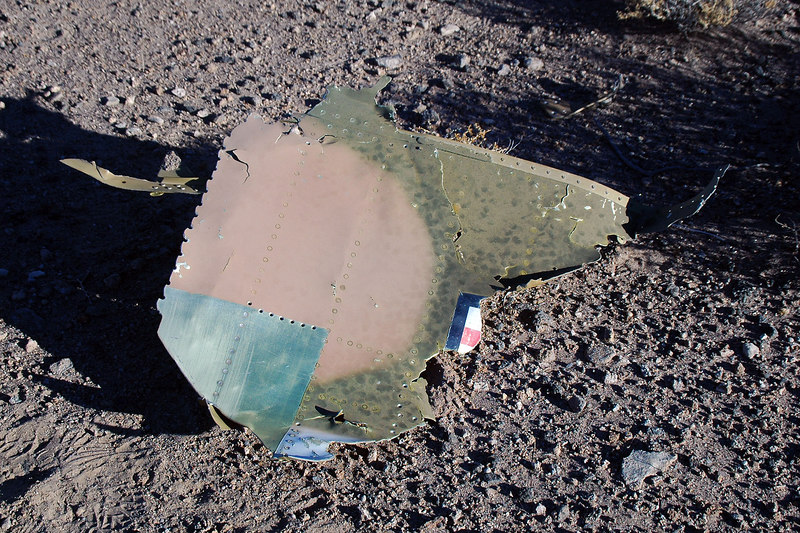 A piece of the fuselage skin with part of the US insignia. Decided to check out the debris field first and work my way back to the impact site.