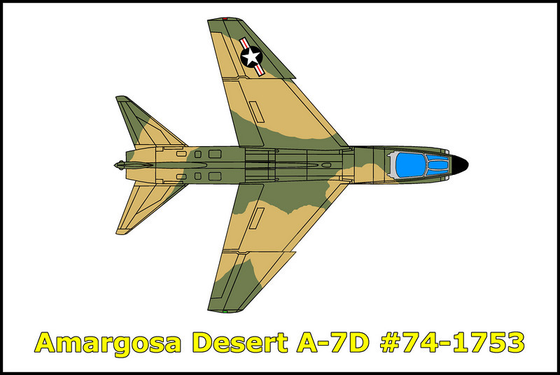 From crash report: On 27 September 1976, Sandy 24-26 Flight, three A-7D aircraft departed Nellis AFB, Nevada, on a Red Flag range orientation mission. The flight left the Nellis ranges at approximately 0958L (PDT) and while climbing to 16,000 feet, proceeded to the Beatty VORTAC. The flight maintained route formation and turned outbound on the 110 degree radial. After completing the turn, two aircraft, Sandy 24, S/N 74-1753 and Sandy 25 S/N 71-0361 collided. Sandy 24's aircraft became uncontrollable and he ejected. The aircraft was destroyed on impact (Beatty TACAN 110/10MM). Sandy 25 declared an emergency, performed a controllability check, and landed at Nellis AFB. <br /> I was able to find this crash site with information from Tom Gossett.