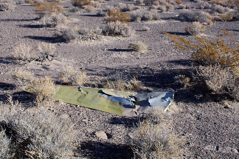 After a few wrong turns, I found the A-7's crash site. This shot is of one of the ailerons.