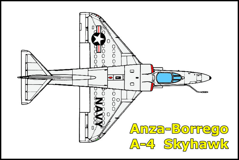 On 4/17/68 the A-4A Skyhawk  BUNo 137828 from the Reserve Attack Squadron 773, flying out of the Los Alamitos Naval Air Station crashed in Anza-Borrego after it's engine failed. The pilot, Lt. Jerry P. Shafer was able ejected safely from 3000 feet.<br /> <br /> I found this crash site by accident while looking for a place to camp for the night.