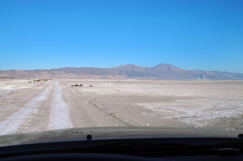 Driving west across the Searles Valley, heading towards the Argus Range. Stream can be seen coming from the mineral plant in Trona at the right. Spent the night on the east side of the valley at the base of the Slate Range after searching for a crash site that I wasn't able to locate.