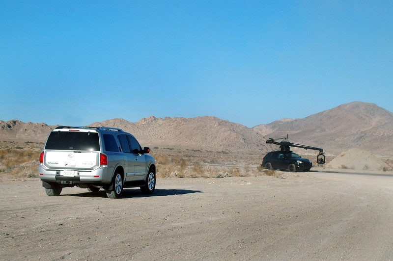 As I approached Hwy 178, this Nissan Armada pulled off the highway followed by a SUV with a camera boom. Looks like they are shooting a car commercial. This is near the Trona Pinnacles which have been used for filming movies and commercials.