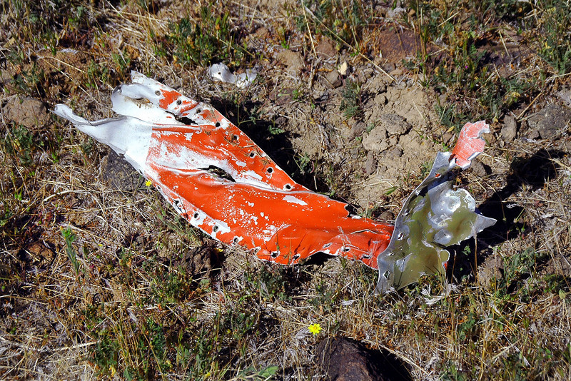 Another piece with orange paint. When I got home, I looked through the China Lake Alumni website to try and find info on this Sabre. Found some photos of QF-86H drones that had camouflage paint with orange and white stripes. Thinking that this Sabre could have been a drone out CLNWC.