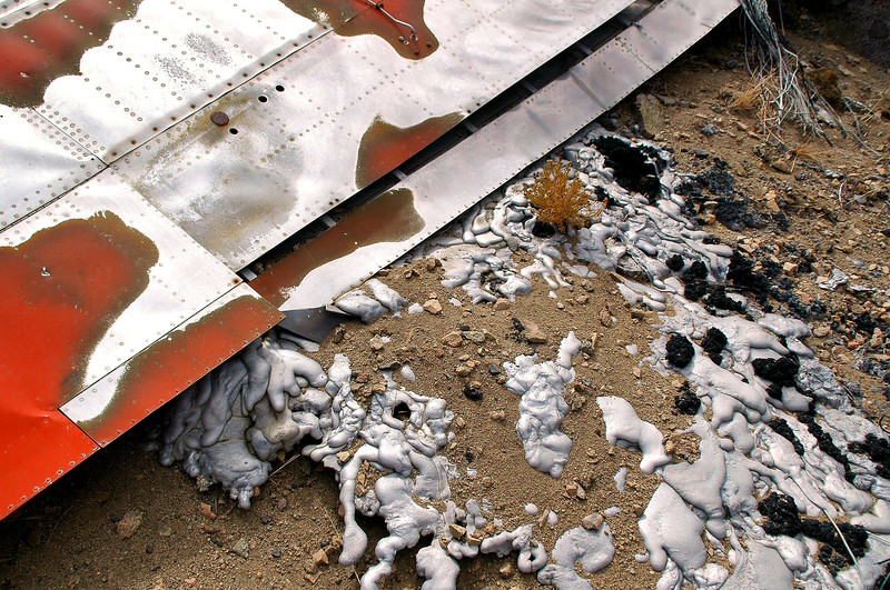 Closer look at the melted aluminum. It's from the inboard section of wing, engine and fuselage.