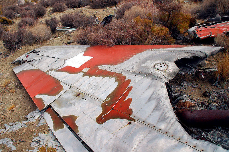 This is only the second time I came across a wing in this good of shape at a crash site. The other was at the Coso F-4 site.