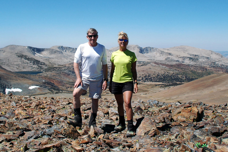 The next morning, Sooz and I on top of a 12,000 foot peak. We hiked up here to to check out the views and kill some time while waiting for the others to hike in.