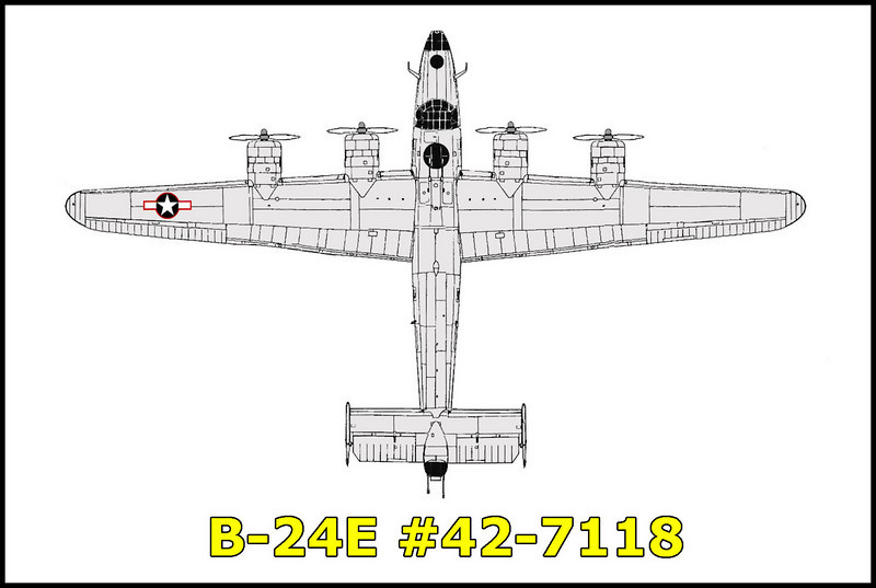 The B-24E #42-7118 crashed in the Sierra Mountains on 6/21/43,  while on a flight from Tonopah, Nevada to Salinas, California. All seven on board were killed. Weather is believed to be the cause of the accident.