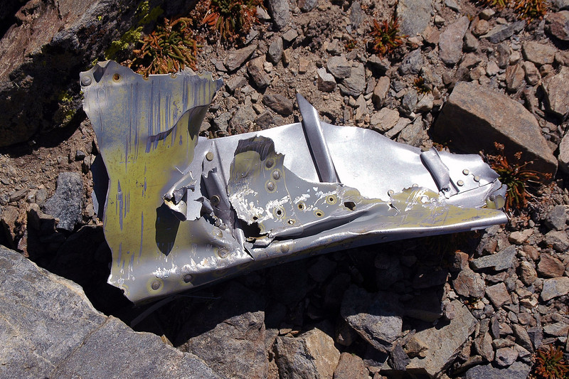 Guessing that this is a piece of the fuselage. Not much sheet metal at the site.