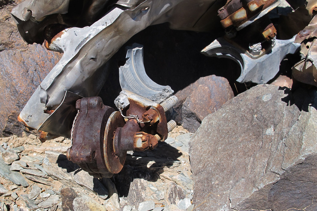 Close view shows two of the motor mounts with pieces from the engine still attached.