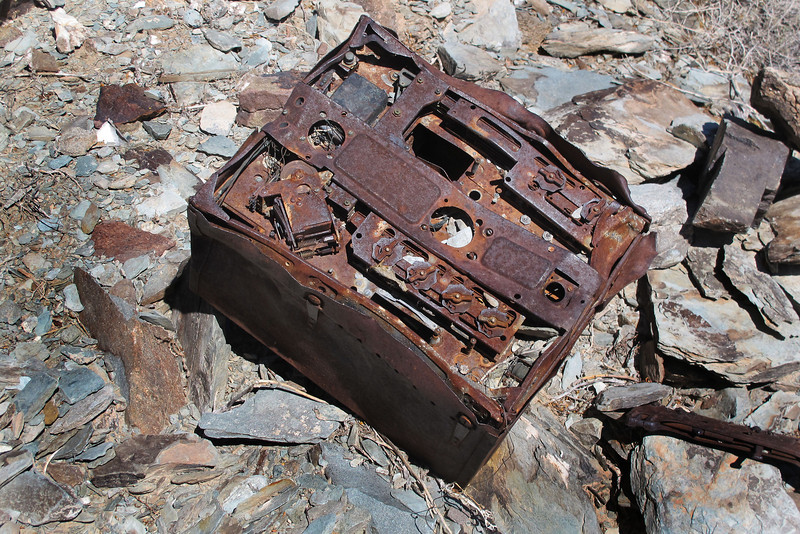 A large piece of electrical equipment, it's about two feet across. A bomb shackle can be seen on the right.