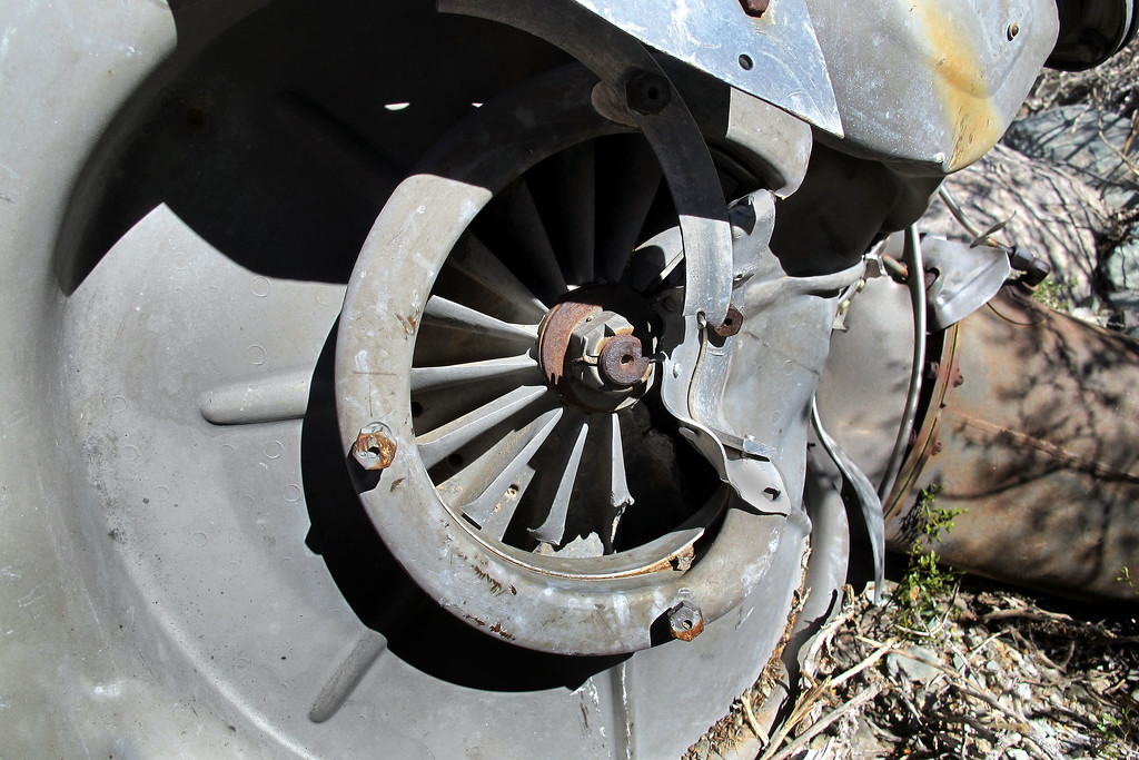 Close up of the compressor impeller.