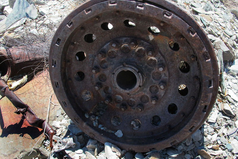 Close up of the remains of the wheel.