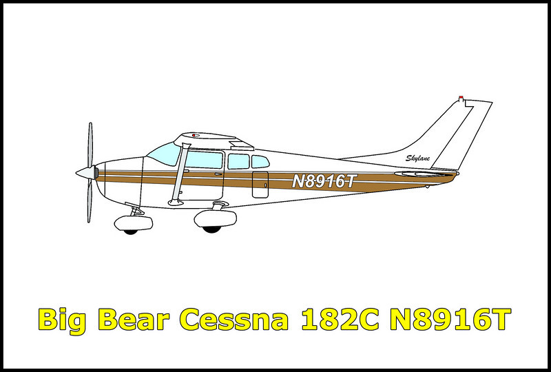 On 11/10/69 the Cessna 182C Skylane N8916T took off from Big Bear City, California in adverse weather conditions consisting of rain with poor visibility for a short flight to Torrance Municipal Airport. A search for the aircraft was launched after it failed to arrive at it's destination and was found the next day within two miles of the Big Bear Airport. It is believed the pilot suffered from spatial disorientation shortly after take off and lost control of the aircraft. Both the pilot and his passenger were killed in the accident.