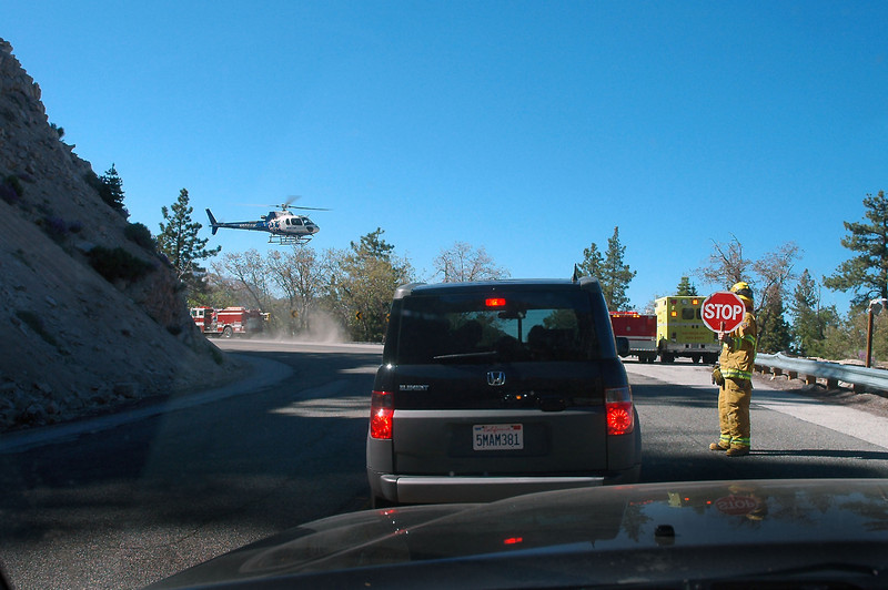 As I neared Big Bear on Hwy 18, the vehicles on the road were stopped by a fireman. Didn't know what was going on till a few seconds later when a helicopter appeared from behind the ridge.