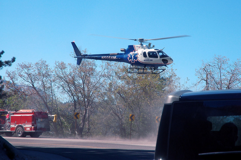 It was one of the  Mercy Air helicopters and it was landing in a turnout along side the highway.