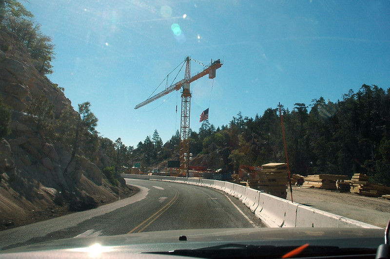 This was unexpected. This large construction crane was at the Big Bear Lake Dam. Looks like they were working on the dam.