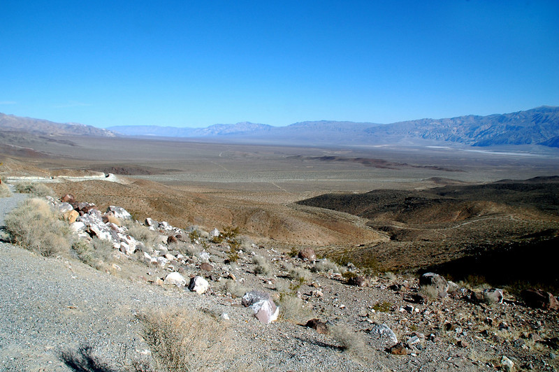 This shot was taken from a turn out at the top of a pass on the Trona Wildrose Road. The Firebee crash site is out on the valley floor.