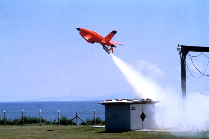 Found some photos of Firebees in action. BQM-34A Firebee target drones can be launched from land or ship by use of a rocket.