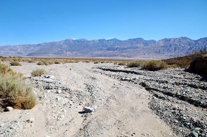 At the start of the hike, I dropped down into the wash and followed it down. Panamint Mountains with snow capped Telescope Peak in the disance.