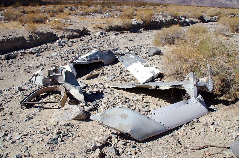 In the partly buried wreckage was the rear end of the fuslage, the left wing, the vertical and one of the horizontal stabilizers.