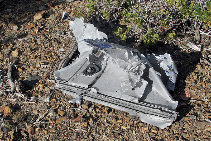 This looks like a piece from the wing with a little of the rubber fuel tank liner remaining.