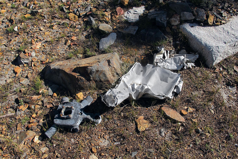 I was starting to wonder if I was going to be able to locate the site when I came upon these first pieces of wreckage. One of the of the newspaper articles stated that the airplane crashed at 10,500 feet but I found these above 11,000 feet.