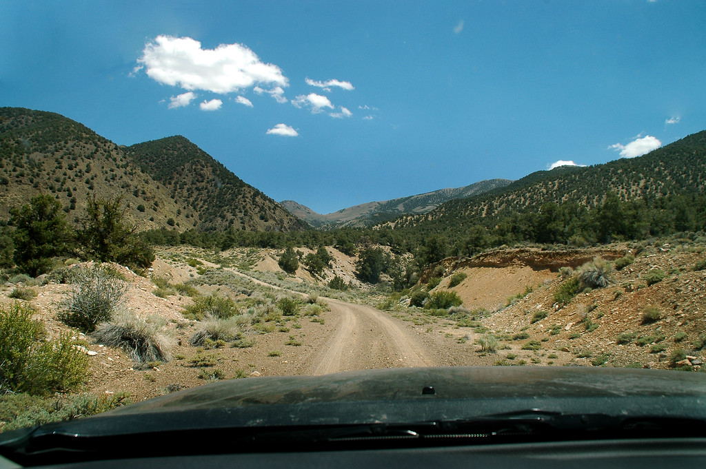 Driving into the White Mountains near the Nevada California broader.