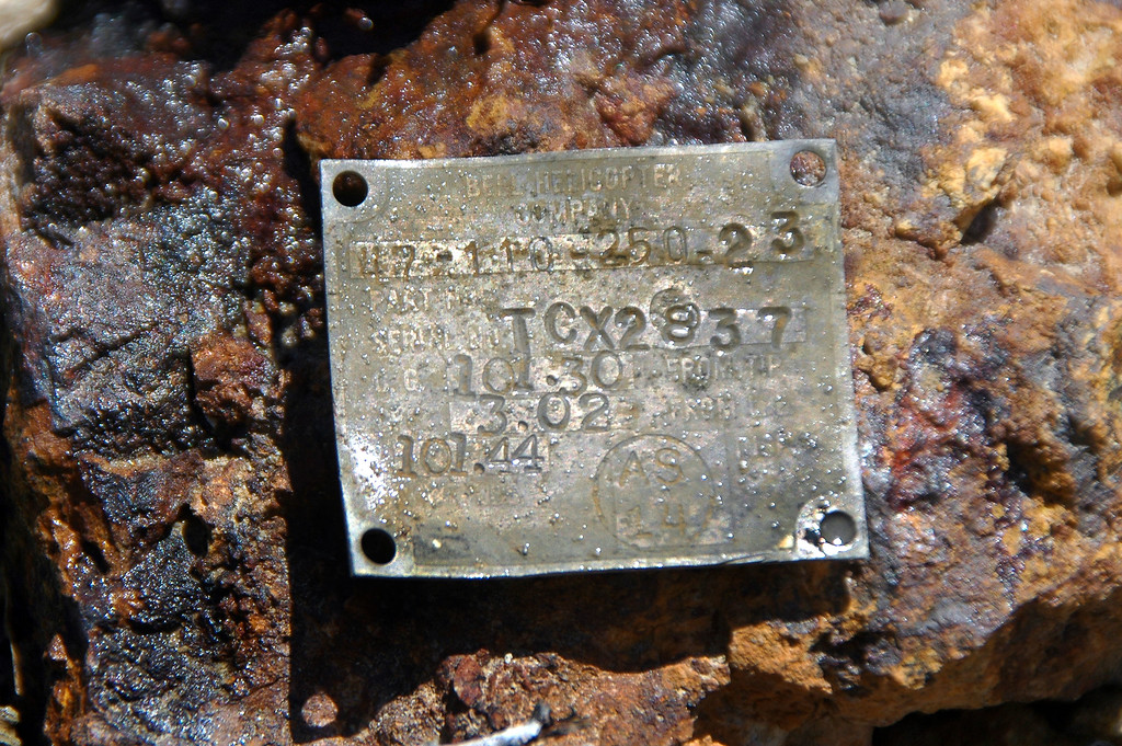 This small tag caught my eye. After getting home I looked up the number 47-110-250-23, turned out to be from one of the main rotors.