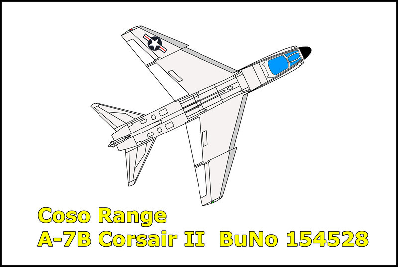 On 4/14/72 the A-7B Corsair II assigned with the VA-155, Naval Air Station Lemoore piloted by Cdr. Steven R. Briggs was on a flight over the Owens Valley, California. During the flight, the A-7B had developed mechanical problems and the pilot ejected. The A-7B crashed onto the desert floor just outside the China Lake Naval Weapons Center.