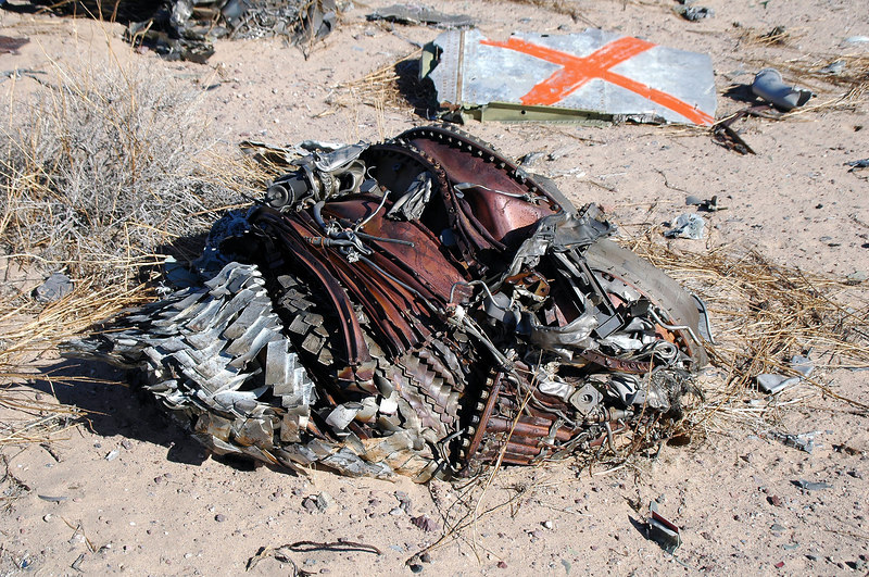 Remains of an engine. Looks like this plane went in hard.