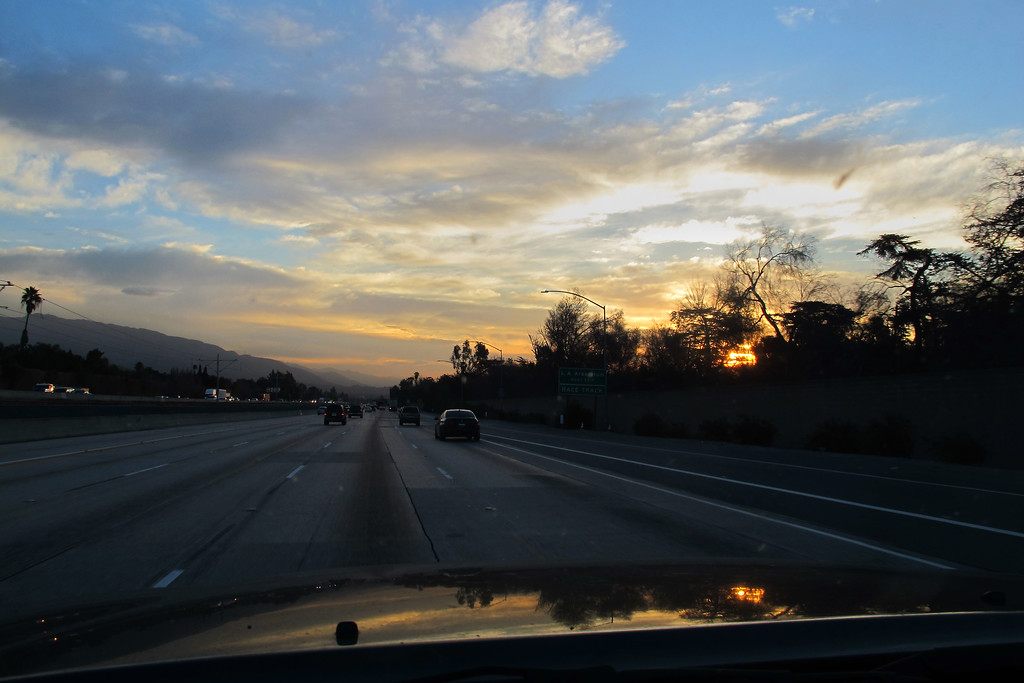 Driving east on the 210 at sunrise. Doing this as a day trip, so I got an early start