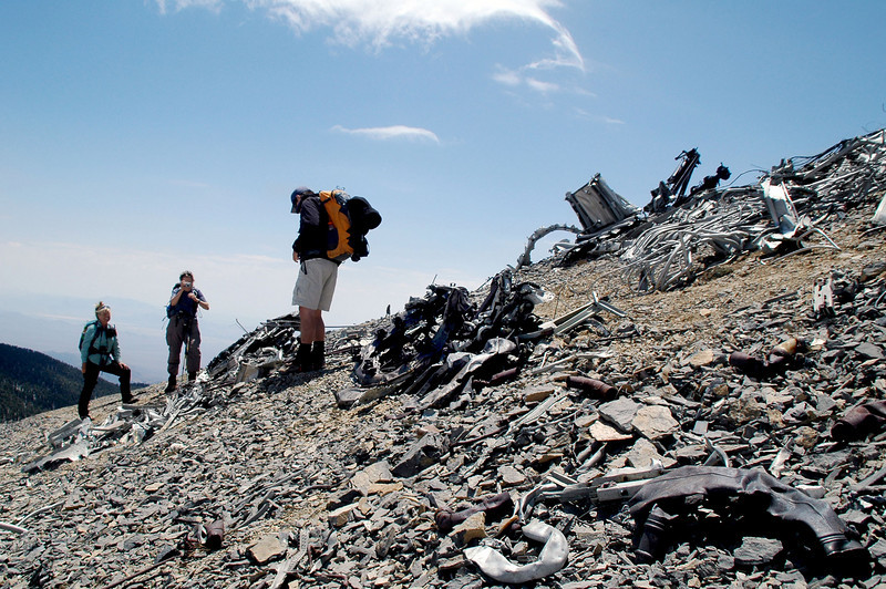 Sooz and Robin arrived from their side trip to Griffith Peak. They took a few photos of the crash site then continued on with Chip to Charleston Peak.