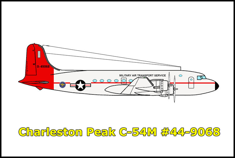 On 11/17/55 the USAF C-54M Skymaster #44-9068 crashed while on a routine flight carrying scientific and technical personnel from the Lockheed Skunk Works in Burbank, California to Groom Lake, Nevada where they were working on the U-2 spy plane. Because of the secrecy, the crew were never in contact with air traffic control. The plane flew on a new route that would cut 10 minutes off the total flight time by first heading northeast to Goodsprings, then turning northwest to their destination. The pilot thought they were flying west of the Spring Mountains, but a 75 mph crosswind, twice as much as expected, pushed the C-54 into a canyon heading toward Charleston Peak. The error in the aircraft's position in relation to the Spring Mountain range and blinded by clouds resulted in the C-54 impacting just 50 feet below the crest of the ridge leading to Charleston Peak's 11,818 foot summit. The crew of four and the ten passengers were killed in the accident.