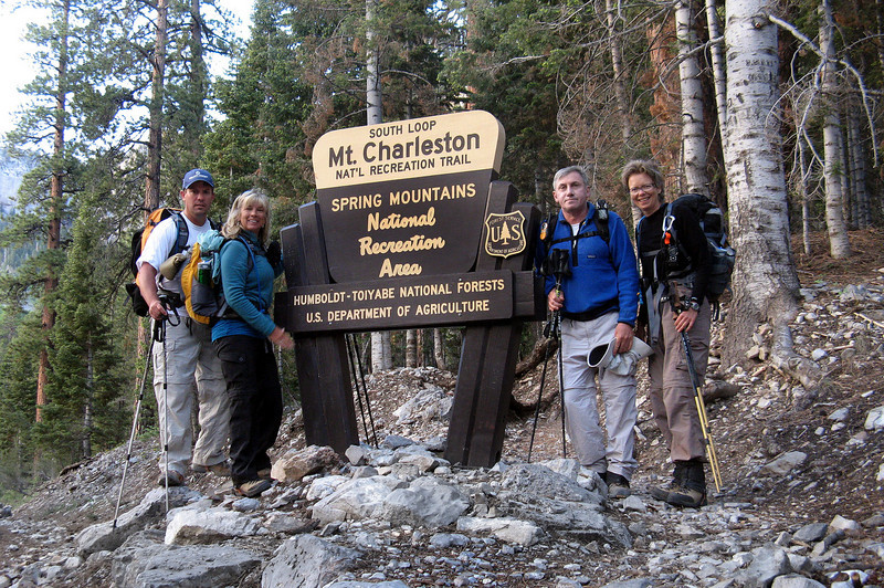 Chip , Sooz, me and Robin at the South Loop trailhead at 7,600 feet. My plan is to hike to the crash site at 11,400 feet while the others continue on to the peak which is 400 feet higher and about half mile past the crash site.