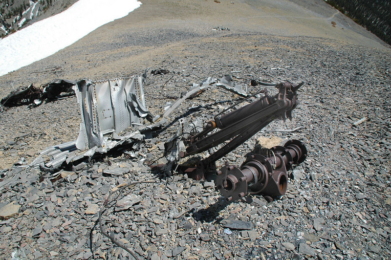 View from the other side. The trail can be seen in the background along with the small pile of wreckage with the wiring.
