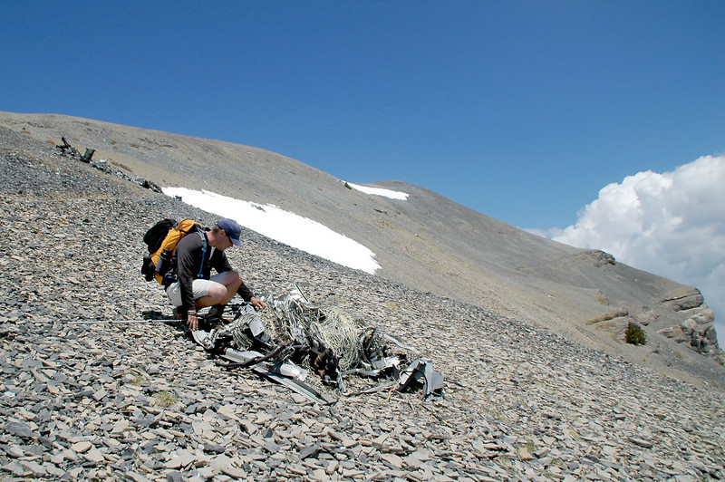 Chip at the first pile of wreckage we came upon. The crash site is at 11,400 feet.
