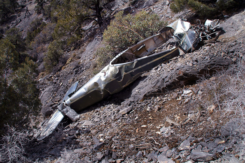 The fuselage. Most of the horizontal stab was there, looked like the fin and rudder were removed. Was surprised to find the fuselage in good shape after crashing on such a steep slope.