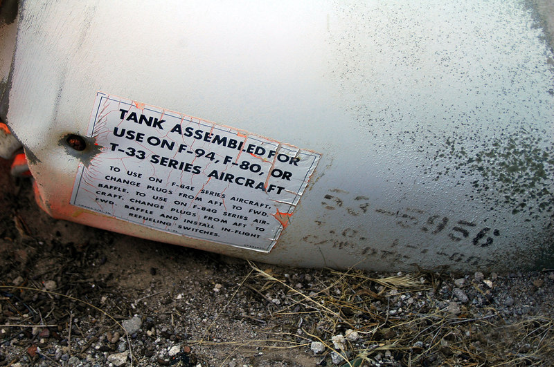 The tip tank had this label and serial number that I believe is the aircraft's number.