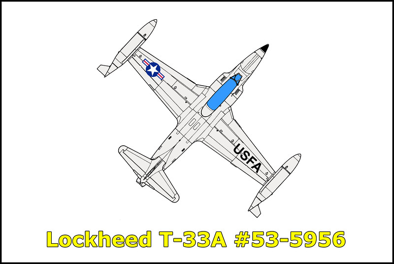 On 12/22/65 the Lockheed T-33A #53-5956 was flying as target for a flight of two F-102 fighter interceptors. The mission was conducted in the Big Bear, Twenty-Nine Palms and Needles training areas with the target T-33A at 39,000 feet. After approximately one and a half hours of flight time during which several intercepts were preformed, the T-33A experienced a loud explosion and an immediate loss of thrust. The loss of thrust was of such magnitude the pilot was thrown forward in the cockpit. The first explosion was followed by several seconds of vibrations and audible rumbles which were loud at first decreasing in intensity followed by a second and final explosion. Three airstarts were attempted without success. The pilot ejected from the aircraft successfully at approximately 20,000 feet.<br /> <br /> Was asked by Tom Gossett if I wanted to join him on a hike to the T-33A crash site. It was a tough eight hour round trip hike and we only stayed at the T-33A site for 20 minutes wanting to get back to the trucks before dark.
