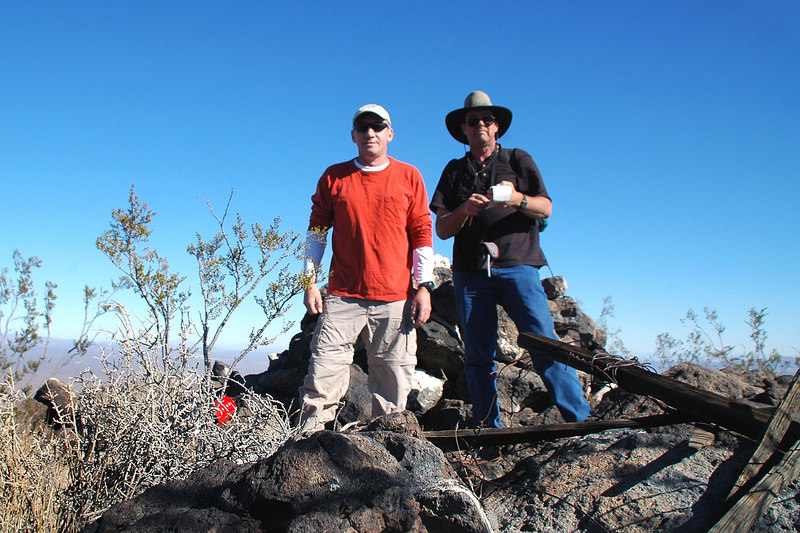 Joe(me) and Tom on the summit, now for the descent to the T-33A.