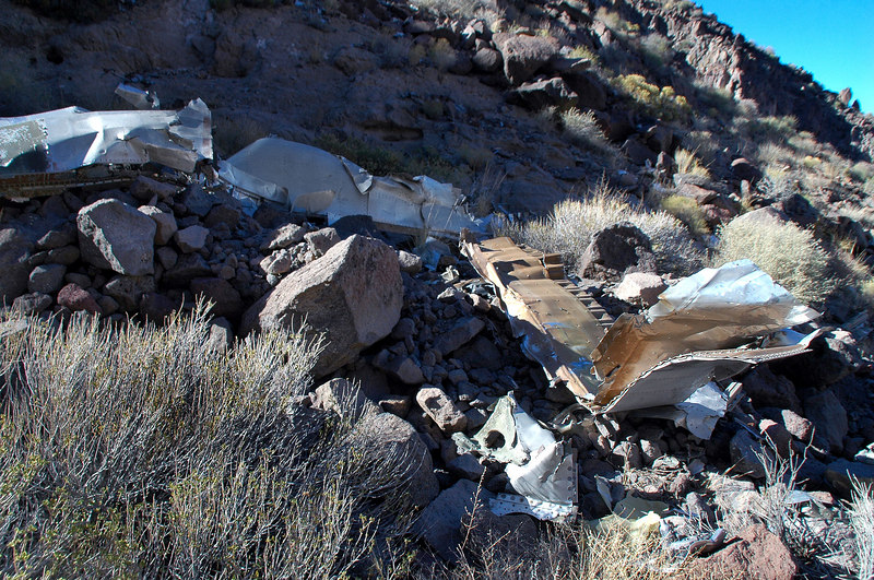 Some of the wreckage above the tail.