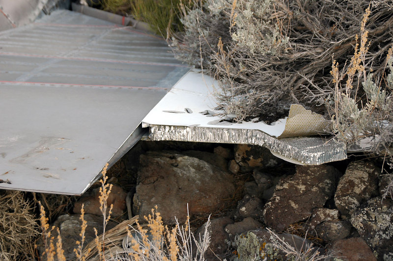 Broken, aluminum skined honeycomb outer section of the tailplane.
