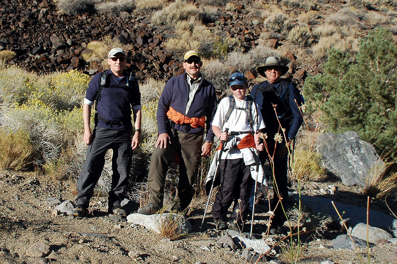 Joe(me), Doug, Mike and Tom. After driving in on dirt roads, we are ready for the hike.
