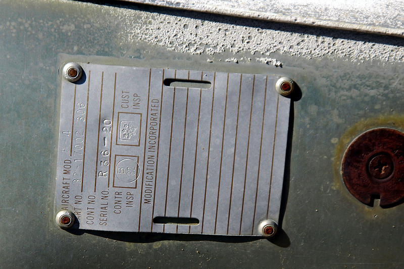 Another thing to look for was a tag that marked the wreckage as coming from a F-4J, or if we got really lucky, a tag with the plane's serial number. This tag on the wing was marked with just F-4.