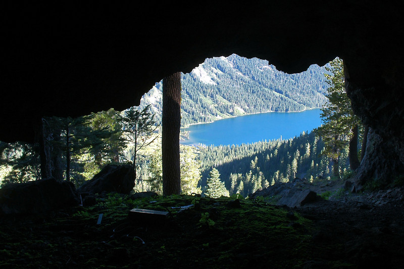 Looking out from inside the cave.