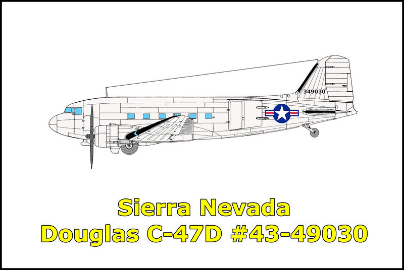 On 10/26/50, the USAF Douglas C-47D #43-49030 was a on a IFR flight from Hill Field AFB, Ogden, Utah to McClellan AFB, Sacramento, California. The aircraft failed to arrive at the destination and a search was started the following day. A total of approximately 475 sorties with 1500 hours flying time were expended by the Air Force and the Civil Air Patrol in search of the missing aircraft with no results. On 5/31/51 the missing C-47D was finally located seven months after it disappeared. The wreckage of the aircraft was spotted up on a ridge by men searching a nearby lake for the bodies of two fishermen that had drowned four days earlier. Examination of the wreckage failed to indicate any evidence of material failure, malfunction of the engines or flight controls. It appears that the pilot overestimated the ground speed due to the unusually strong headwinds and thinking that he had already cleared the mountain range started the descent to McClellan AFB. Unfortunately they were still well into the Sierra Nevada mountains and the plane impacted a cliff face destroying the aircraft and killing the four men aboard. <br /> <br /> Killed in the accident were,<br /> <br /> Pilot: M Sgt. Thomas W. Rafferty<br /> Co-pilot: 1st Lt. Richard N. Luse<br /> Engineer: T Sgt. William A. Larsen<br /> Passenger: Pfc. Dan L. Young