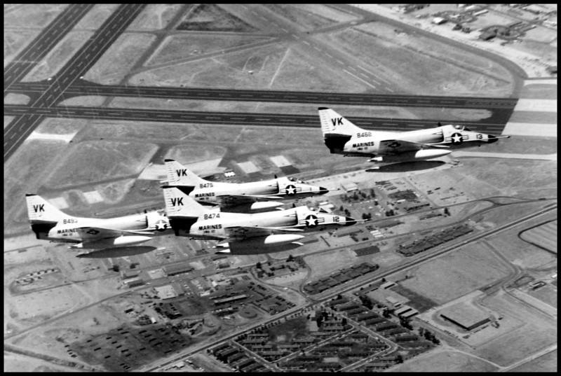 This photo taken on 6/21/61, shows four U.S. Marine Corps Douglas A4D-2N Skyhawks in flight over Marine Corps Air Station El Toro, California. BuNo 148474 which is the one at the crash site is front and center, the others are 148462, 148475, 148493.<br /> <br /> U.S. Navy National Museum of Naval Aviation photo.