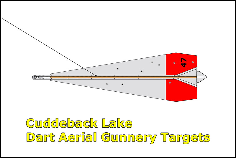 The TDU-10/B Dart aerial gunnery target was towed behind an airplane on a 1,500 to 2,000 foot cable and was equipped with a radar reflector to permit the use of radar gun sights. They are about 16 feet long and weight 200 pounds. Operating altitudes are between 3,000 to 30,000 feet and speeds from 190 Knots up to Mach 0.85.