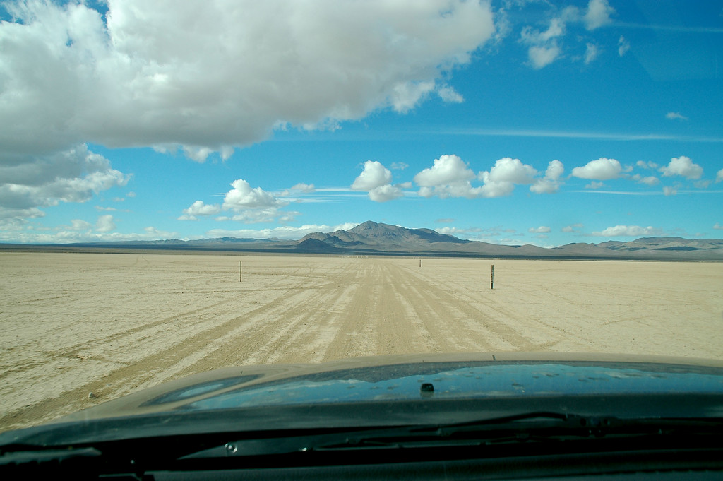 Driving across the lake bed, turns out what little rain this area received was just enough to stop the dust, but not cause any problems driving.<br /> <br />  I ended up hiking about four miles and found about twenty of the Dart targets. Had a fun time checking out the Darts on a great day in the desert.<br /> <br /> THE END